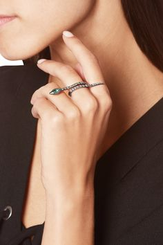 Shop on-sale Ileana Makri Viper 18-karat white gold, diamond and emerald ring. Browse other discount designer Jewelry & more on The Most Fashionable Fashion Outlet, THE OUTNET.COM