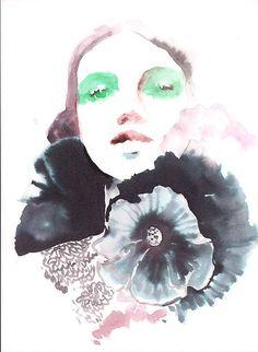 Sale on all Original Work via Etsy Shop during January! Original Fashion Painting  Watercolor Fashion Portrait