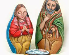 Living Rocks...especially love this Nativity set - Hand painted stones by Ernestina Gallina.