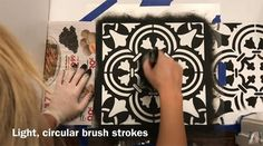 Learn how to stencil a ceramic tile floor using the Augusta Tile Stencil from Cutting Edge Stencils. http://www.cuttingedgestencils.com/augusta-tile-stencil-design-patchwork-tiles-stencils.html
