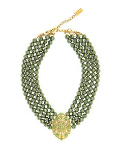 EMPRESS OF THE SEASON STATEMENT NECKLACE (GREEN)