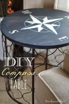Hand painted nautical compass table hand by for Nautical kitchen table