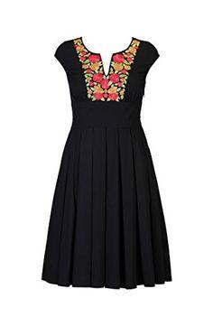 eShakti Women's Vibrant floral embroidery poplin dress 5X-32W Short Black multi eShakti http://www.amazon.com/dp/B00NMD7OJM/ref=cm_sw_r_pi_dp_LJ.Qub17Z2RGT