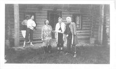 Photograph Snapshot Vintage Black and White Family Dress Cabin Smile 1940'S | eBay