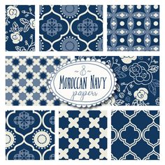 Stunning decorative pattern papers in navy and cream, inspired by Moroccan fabrics and tiles! Easy to mix and match --- adorable in any combination! Use them for scrapbook backgrounds, stationery design, invitations, you name it! And its so easy to fill any area using the seamless pattern tiles!  Each Moroccan tile design comes in both large (loose pattern) and small (tight pattern) papers at 12x12. You also get the seamless pattern tiles for Photoshop and a vector file so you can go in and…