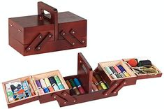 Wooden Sewing Box, Casa Retro, Home Office Accessories, Hidden Compartments, Embroidery Tools, Home Sew, Organiser Box, Sewing Tools, Sewing Kits