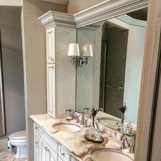 French traditional vanity with creme marble. Water hill faucets by Moen . #bath #bathroom #luxury #decor #home #homedecor #cabinets #traditional #french #country #building #follow #followme #inspire #instalike #instadaily #repost #style #design #designer #interiordesign #interiors #picoftheday #mirror #masterbathroom #bath #bathroomideas #remodelingideas #renovation by masterkitchenandbathdesign Bathroom designs.