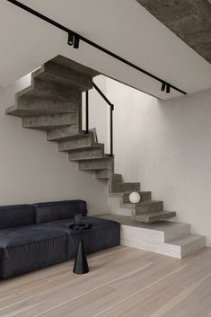 Meditative gray apartment on Behance Stairs Architecture, Interior Architecture, Interior Design, Stairway, Small Spaces, Meditation, Living Room, Grey, Behance