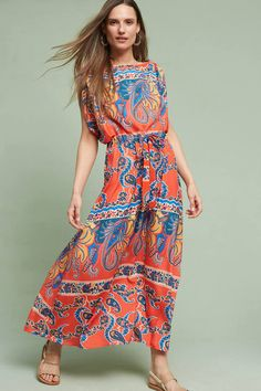 Red kimono-styled printed maxi dress perfect for spring. Eva Franco Turin Kimono Dress