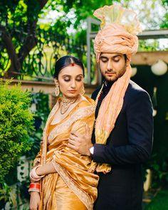 A mustard coloured heirloom silk arree with an Aaro work border worn for an intimate wedding! What a great way to use heirloom sarees for your wedding! (C) Gautam Khullar Photography #wittyvows #intimatewedding #homewedding #bridalhair #bridalmakeup #bridaljewellery #bridalsaree #indianweddinginspiration #bridaloutfit #brideandgroom #weddingideas Bride Groom Photos, Indian Bride And Groom, South Indian Bride, Indian Bridal Outfits, Indian Designer Outfits, Wedding Outfits, Wedding Wear, Bridal Looks, Bridal Style