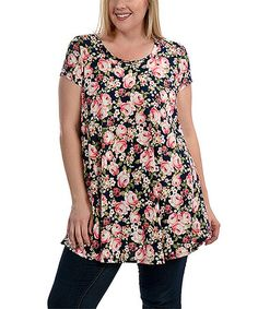 Look what I found on #zulily! Black & Cream Floral Swing Top - Plus #zulilyfinds