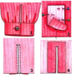 Incision or slots on the sleeve ~sewing Sewing Lessons, Sewing Hacks, Sewing Tutorials, Sewing Crafts, Techniques Couture, Sewing Techniques, Sewing Sleeves, Diy Kleidung, Modelista