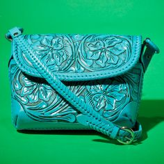 Mmmm....turquoise tooled leather cross body purse