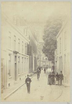 Domstraat in Utrecht, Henry Pauw van Wieldrecht, 1888 Rechts een koetsje van de daar gevestigde stalhouderij.