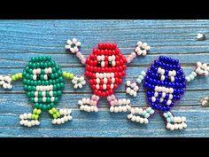 M&M's из бисера в технике параллельное плетение - YouTube Pony Bead Patterns, Beading Patterns, Cross Stitch Patterns, Knitting Patterns, Cross Stitch Charts, Pony Bead Crafts, Safety Pin Jewelry, Diy And Crafts, Arts And Crafts