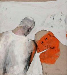 'Paar (Pair),' 2010, by German painter Bahram Hajou (b.1952). Mixed media on canvas, 100 x 90 cm. ty, Artburgac. via the artist's site