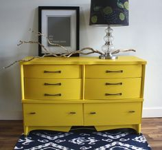 The Turquoise Iris: MID CENTURY DRESSER IN SUNSHINE YELLOW Super fab revival of a blonde colored dresser