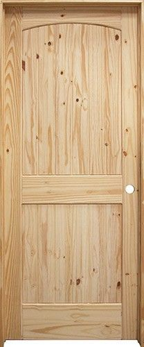 """28""""-36"""": 6'8"""" Tall 2-Panel Arch V-Groove Knotty Pine Interior Prehung Wood Door Unit"""