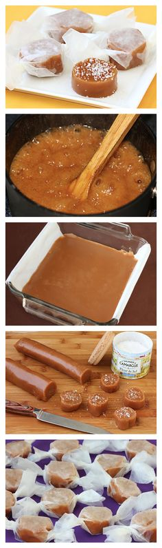 Fleur de Sel Caramels - Grab your candy thermometer (or run out and buy one) and give these babies a try! Better than anything you can get at the store. Caramel Recipes, Candy Recipes, Sweet Recipes, Dessert Recipes, Caramel Treats, Caramel Candy, Bonbon Caramel, Holiday Baking, Christmas Baking