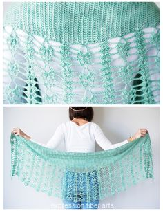 Pistachio Falls Cascading Crescent Crochet Shawl Pattern by expression fiber arts