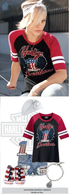 HARLEY-DAVIDSON STYLE | HARLEY-DAVIDSON OUTFIT | HARLEY-DAVIDSON LOOK |HARLEY-DAVIDSON AMERICAN LEGEND | camiseta harley-davidson, pin harley-davidson, pulsera harley-davidson, pañuelo harley-davidson.