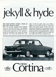 """Items similar to 1965 Ford Cortina Car Photo Ad """"jekyll & hyde"""" Vintage Auto Advertisement - Gift for Him - Garage Wall Decor Print on Etsy Show Photos, Car Photos, Car Pictures, Vintage Advertisements, Ads, Ford Classic Cars, Car Posters, Car Advertising, Car Ford"""