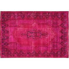 """Pink Overdyed Kerman Mihrab Design Rug -8'8"""" x 12' ($1,564) ❤ liked on Polyvore featuring home, rugs, pink floral rug, pink rug, wool hooked rugs, oriental style rugs and floral rugs"""