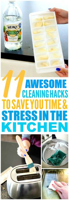 These 11 kitchen cleaning hacks and tips are THE BEST! I'm so glad I found these AMAZING tips! Such great life hacks for keeping things clean! Definitely pinning!