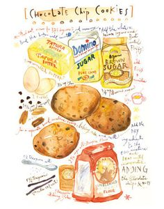 Kitchen art, Chocolate chip cookies recipe print, Bakery poster, Kitchen decor, Watercolor Food illustration, Cake art on Etsy, $30.00