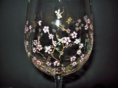 Hand Painted Wine Glasses Set of 2 Wine by TheGroovyCatBoutique