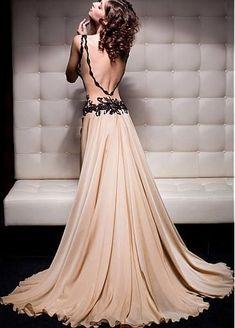 Sexy Chiffon V-neck Neckline Sheath Prom Dress With Beaded Appliques