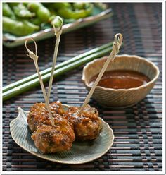 Scallion meatballs with soy ginger glaze.