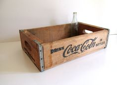 Vintage Coca Cola Crate Los Angeles Coke in Bottles Storage Box Natural Wood Bottle Tray Advertisement by RollingHillsVintage on Etsy
