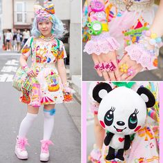 """tokyology: """"Nodoka on the street in Harajuku with a colorful decora look that features handmade fashion, kawaii accessories, watches from Mikazuki Momoko, Roni ribbon-laced sneakers, and a. Japanese Street Fashion, Tokyo Fashion, Harajuku Fashion, Lolita Fashion, Girl Fashion, Diy Best Friend Gifts, Harajuku Japan, Lolita Style, Street Style"""