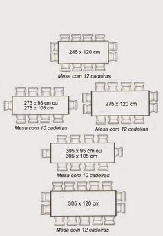 mesa retangular com medidas
