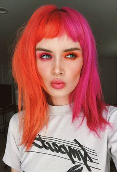 💖 i had so much fun coloring my hair live with you guys yesterday! tysm for this pretty pink. i used the shade pink… Funky Hair Colors, Hair Color Purple, Brown Hair Colors, Pink And Orange Hair, Split Dyed Hair, Aesthetic Hair, Coloured Hair, Funky Hairstyles, Pastel Hair