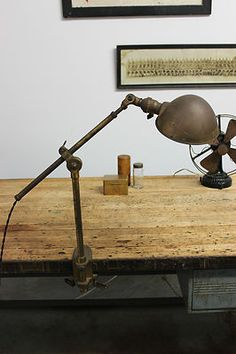 Vintage Industrial Weldon Brass Task Lamp Light Machine Age OC White Faries Era | eBay