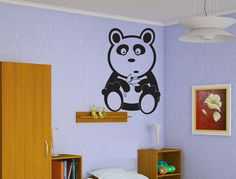 Baby Panda Sticker Wall Vinyl Panda Bear Animal Mural Decal Zoo Decor Gift #269 #HomeOfStickers