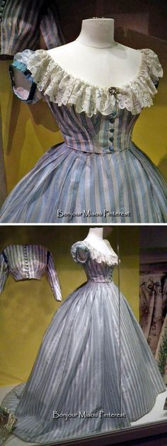 Three-piece gown (skirt, day bodice, evening bodice) ca. 1860s. From exhibit at the Museum of Costume & Lace, Brussels. Cristoph Houbrechts Vanhoorne Facebook