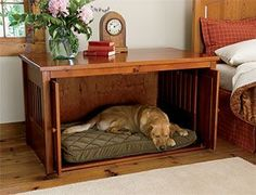 I like the idea of putting the pet bed inside a piece of furniture.  They get to stay with the family while keeping the bed out of the way.  I would use this idea with a coffee table or side table to keep my cats in the living room.