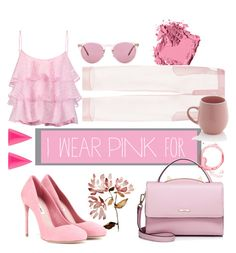 """""""Pink💕"""" by a-braizat on Polyvore featuring Bobbi Brown Cosmetics, Pierre Balmain, WithChic, Miu Miu, Oliver Peoples, Alexis Bittar, Sabichi and IWearPinkFor"""