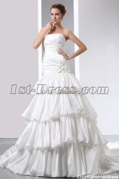 Strapless Fashion Layered Mermaid Wedding Dresses:1st-dress.com