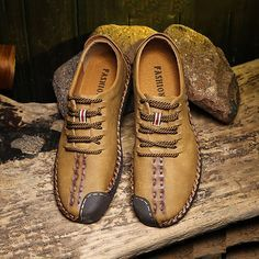 Men British Style Retro Stiching Soft Sole Lace Up Flat Cap-toe Casual Shoes - NewChic