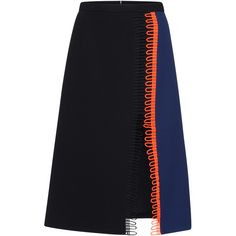 Christopher Kane Loop Trim Knee Length Skirt (11.128.655 IDR) ❤ liked on Polyvore featuring skirts, christopher kane, bottoms, navy a line skirt, a-line skirts, navy blue skirts, knee length skirts and high-waisted skirts
