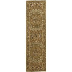 @Overstock - An intricate Oriental design and dense, thick pile highlight this handmade rug. This floor rug has a light brown background and a grey border and displays stunning panel colors of green, ivory, red and gold.http://www.overstock.com/Home-Garden/Handmade-Heritage-Medallion-Light-Brown-Grey-Wool-Rug-23-x-10/7233586/product.html?CID=214117 $114.99