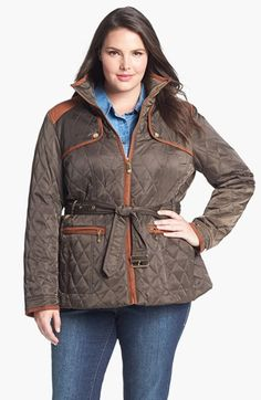 Vince Camuto Faux Suede Trim Quilted Jacket (Plus Size) available at #Nordstrom $109.90