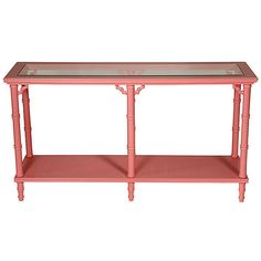 Pre-Owned Faux-Bamboo Console Table ($985) ❤ liked on Polyvore featuring home, furniture, tables, accent tables, coral pink, vintage faux bamboo furniture, lacquer furniture, vintage furniture, second hand furniture and second hand table