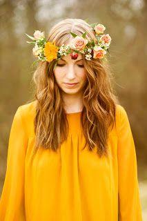 Peach & orange flower crown by alie blackman