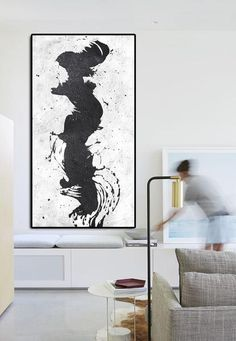 Horizontal Minimalist Art hand painted black and white art minimal painting on canvas by CZ Art Design Perfect choice for modern and contemporary home. Large Canvas Art, Large Painting, Minimalist Painting, Minimalist Art, Original Art, Original Paintings, White Art, Minimalism, Hand Painted