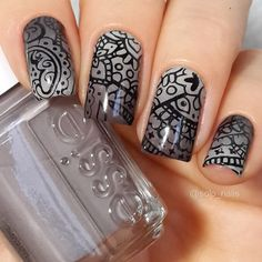 Brown-gray gradient nails with black stamping.  (by @solo_nails on IG)
